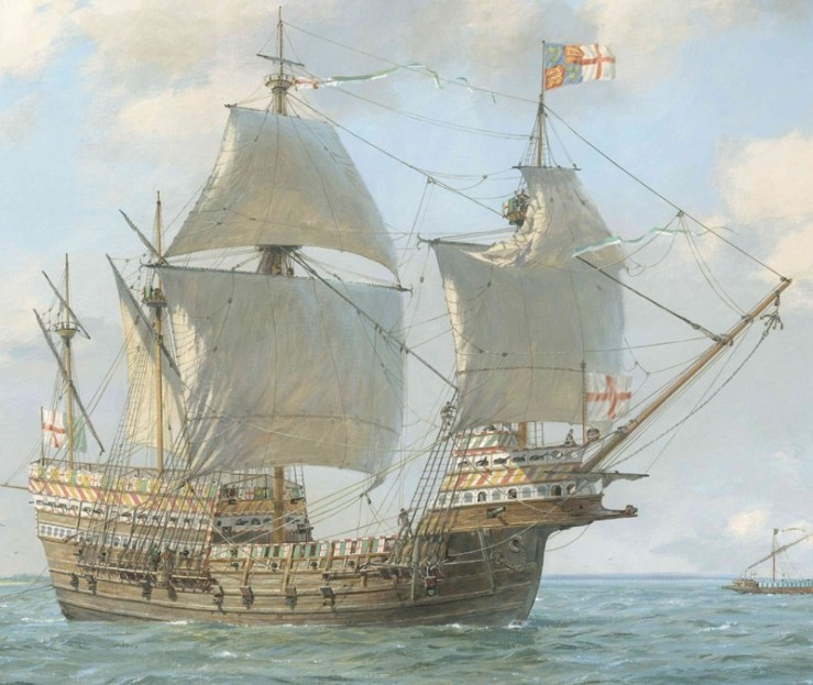 geoff-hunts-painting-of-the-mary-rose-under-sail-geoff-hunt-the-mary-rose-trust